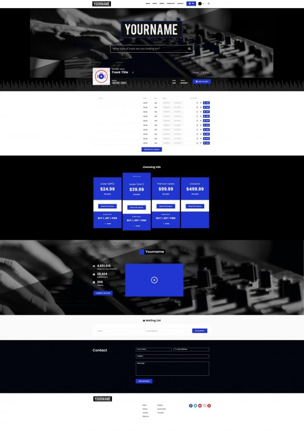 Premade Beatstars Pro Page 2.0 PP2 Layout #001 Fullsize Preview
