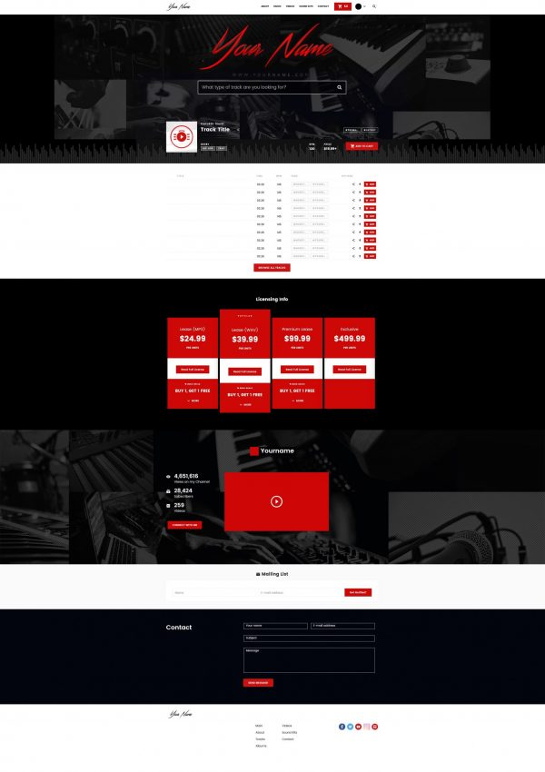 Premade Beatstars Pro Page 2.0 PP2 Layout #002 Fullsize Preview