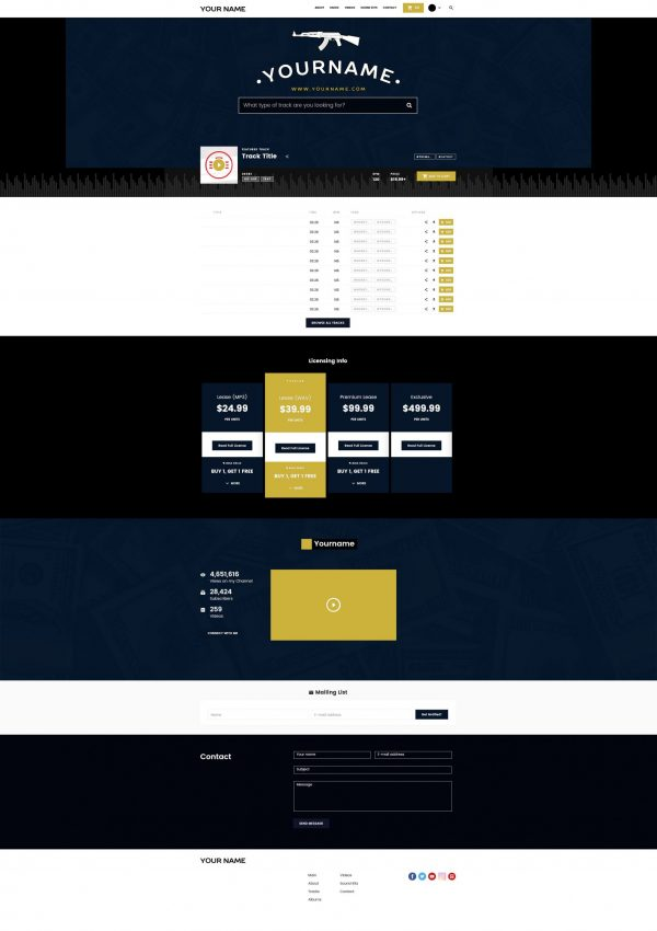 Premade Beatstars Pro Page 2.0 PP2 Layout #003 Fullsize Preview