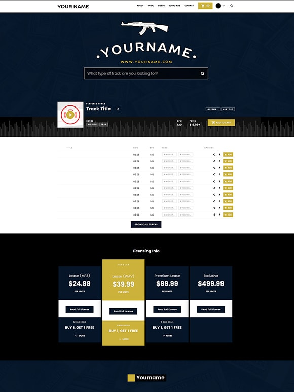 Premade Beatstars Pro Page Block Theme #003 Layout Preview