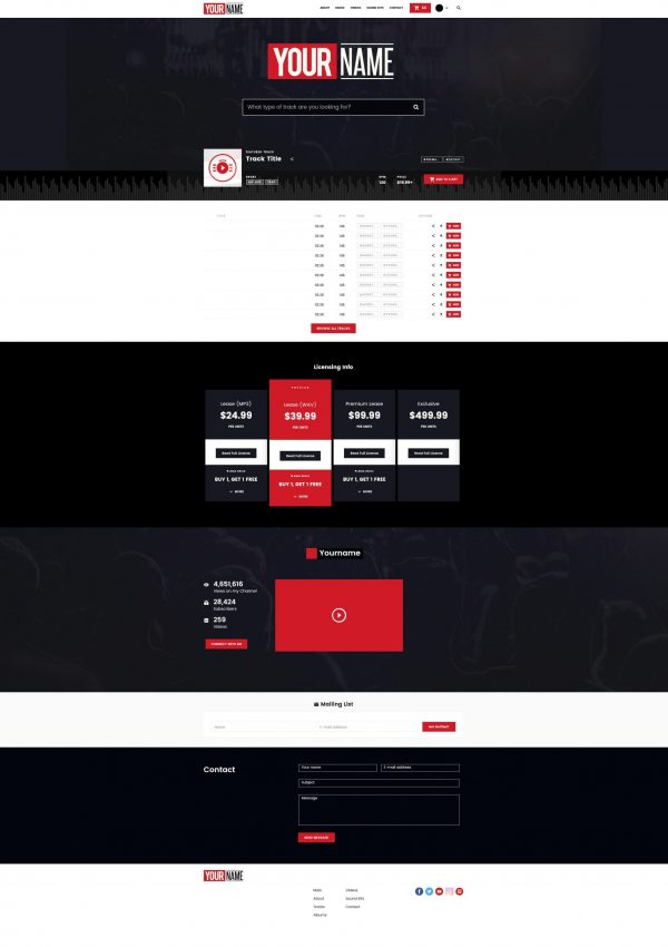 Premade Beatstars Pro Page 2.0 PP2 Layout #004 Fullsize Preview