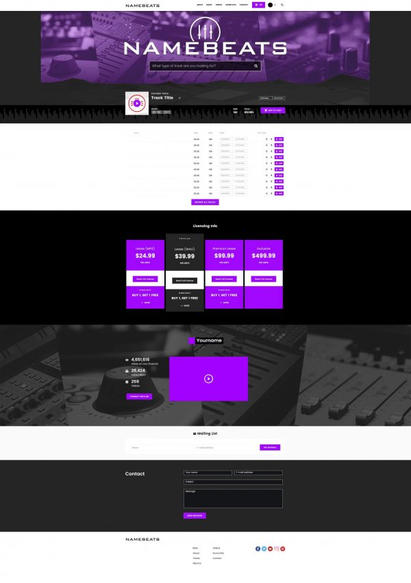 Premade Beatstars Pro Page 2.0 PP2 Layout #007 Fullsize Preview