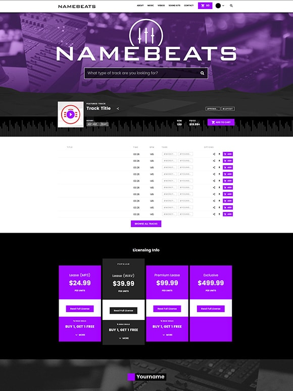 Premade Beatstars Pro Page Block Theme #007 Layout Preview