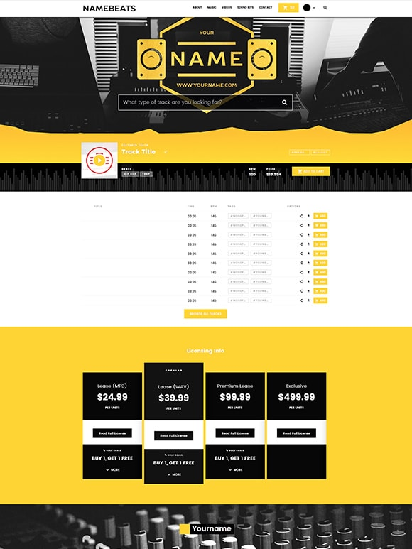 Premade Beatstars Pro Page Block Theme #009 Layout Preview