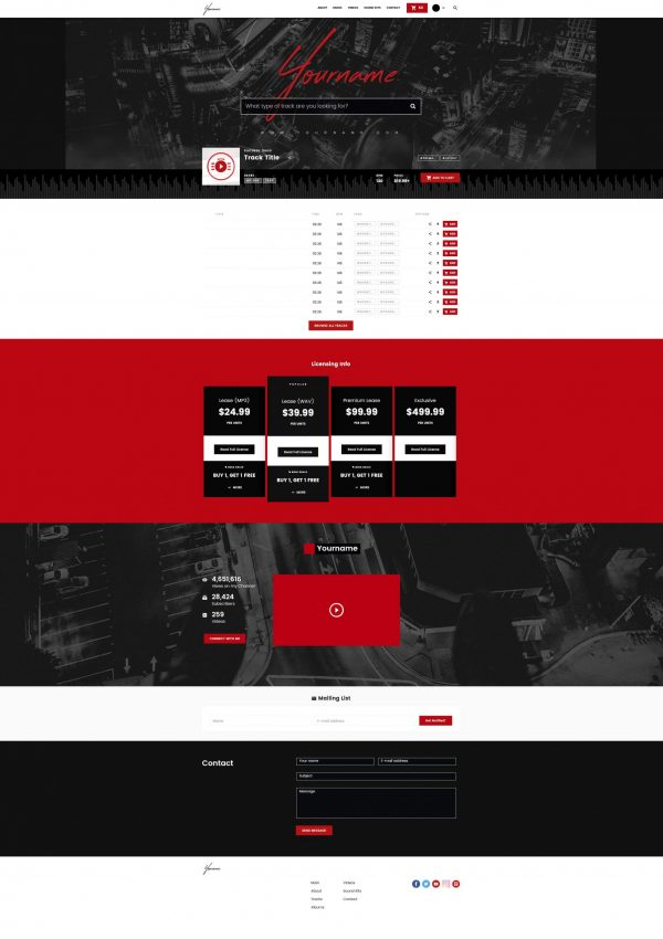 Premade Beatstars Pro Page 2.0 PP2 Layout #010 Fullsize Preview
