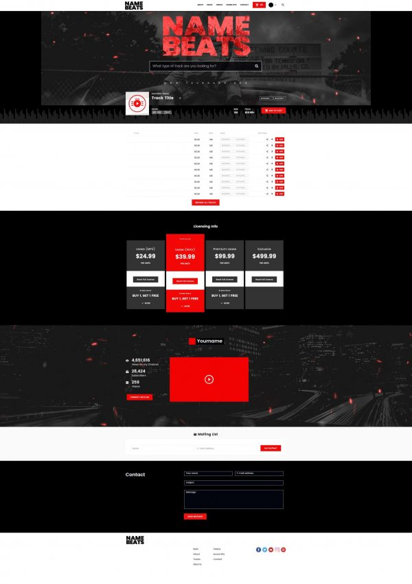 Premade Beatstars Pro Page 2.0 PP2 Layout #011 Fullsize Preview