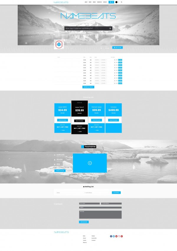 Premade Beatstars Pro Page 2.0 PP2 Layout #012 Fullsize Preview