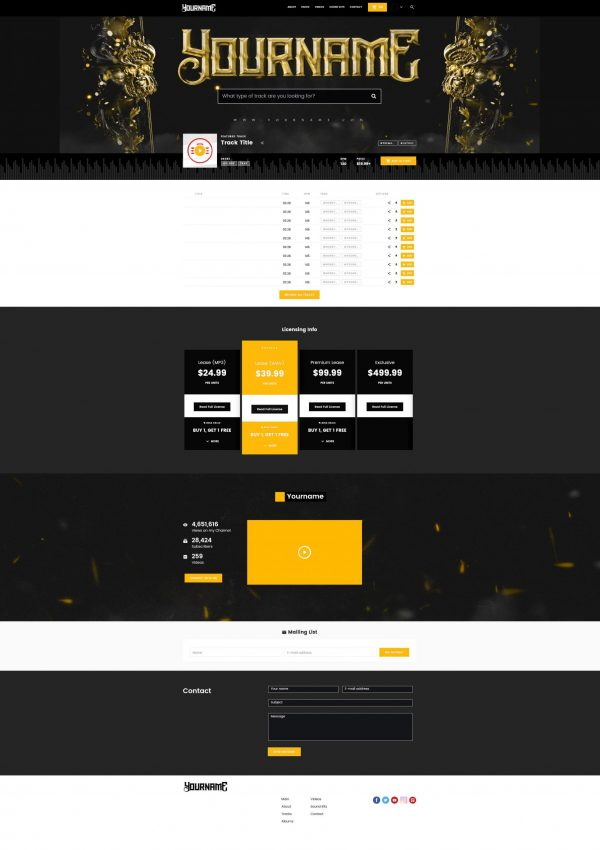 Premade Beatstars Pro Page 2.0 PP2 Layout #013 Fullsize Preview