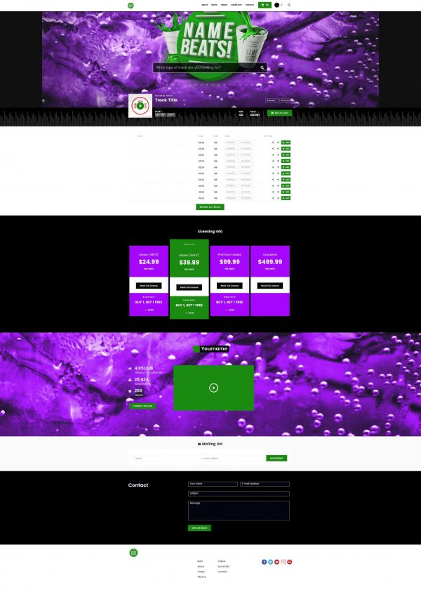 Premade Beatstars Pro Page 2.0 PP2 Layout #014 Fullsize Preview
