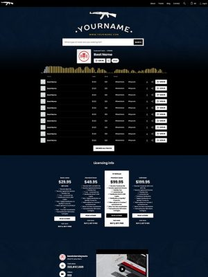 Premade Beatstars Pro Page Round Theme #003 Layout Preview
