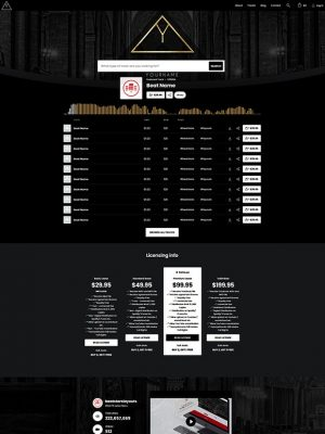 Premade Beatstars Pro Page Round Theme #005 Layout Preview