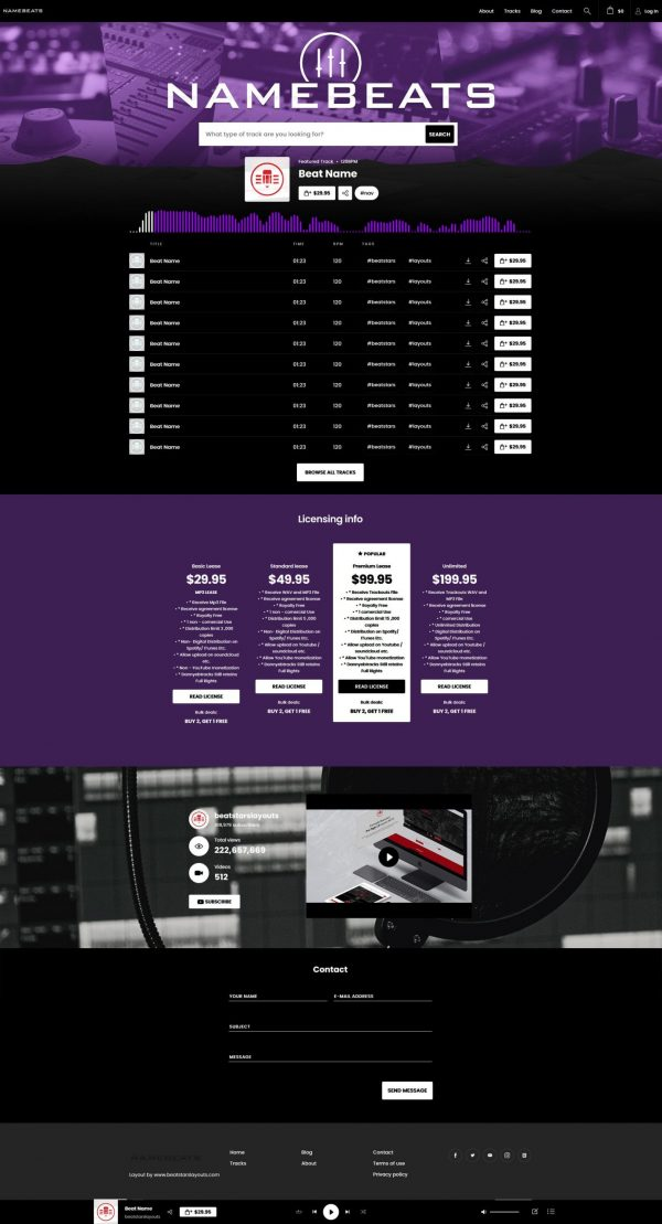 Premade Beatstars Pro Page Round Theme #007 Fullsize Layout Preview