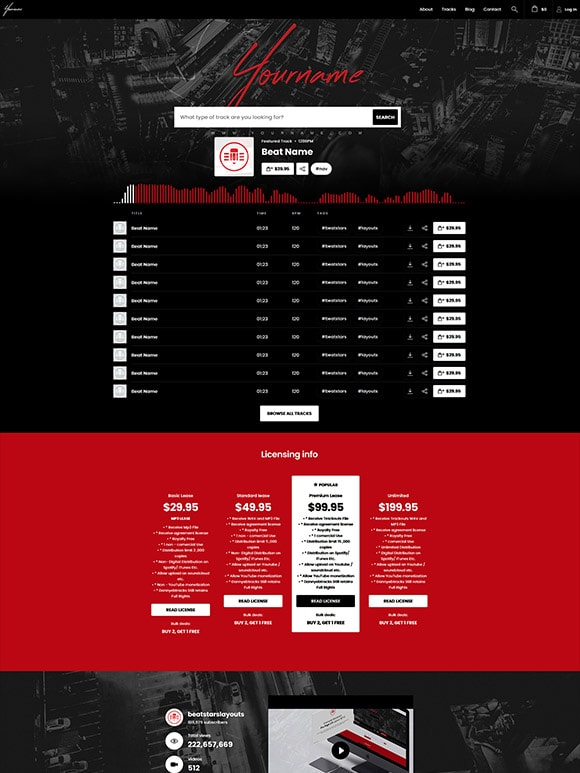 Premade Beatstars Pro Page Round Theme #010 Layout Preview
