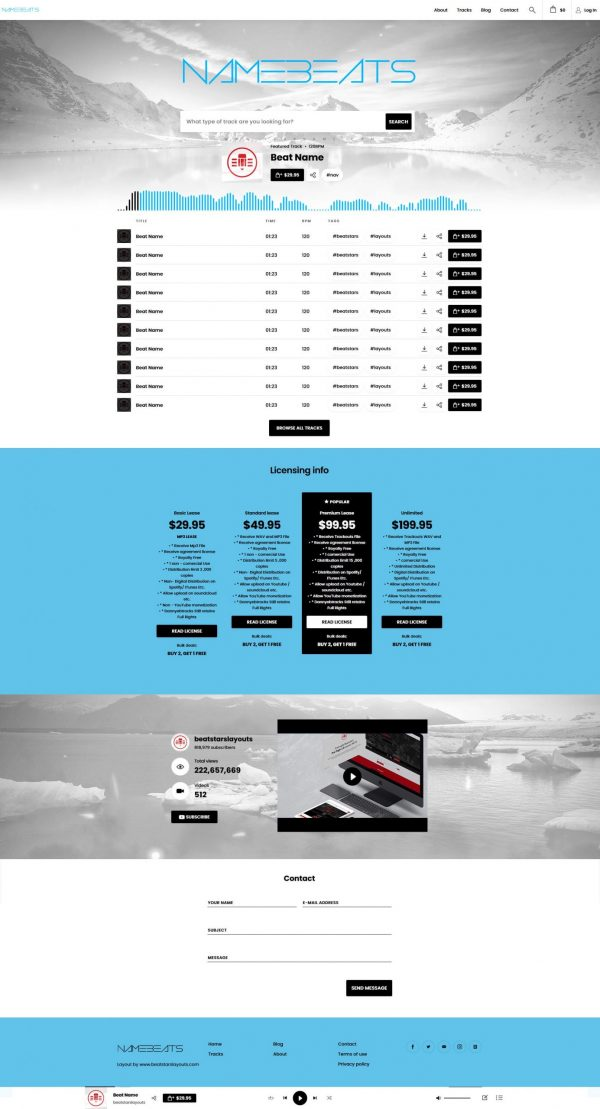 Premade Beatstars Pro Page Round Theme #012 Fullsize Layout Preview