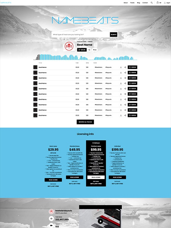 Premade Beatstars Pro Page Round Theme #012 Layout Preview