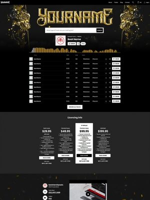 Premade Beatstars Pro Page Round Theme #013 Layout Preview