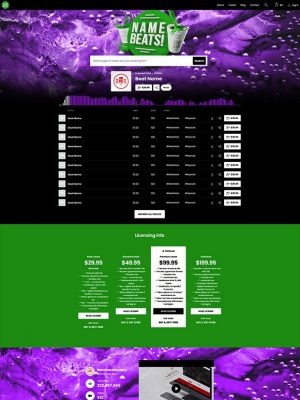 Premade Beatstars Pro Page Round Theme #014 Layout Preview