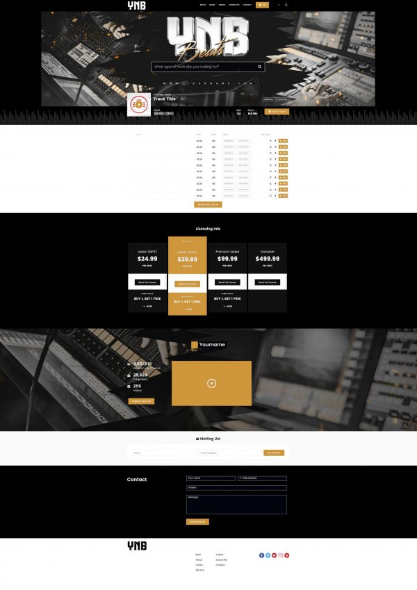 Premade Beatstars Pro Page 2.0 PP2 Layout #015 Fullsize Preview