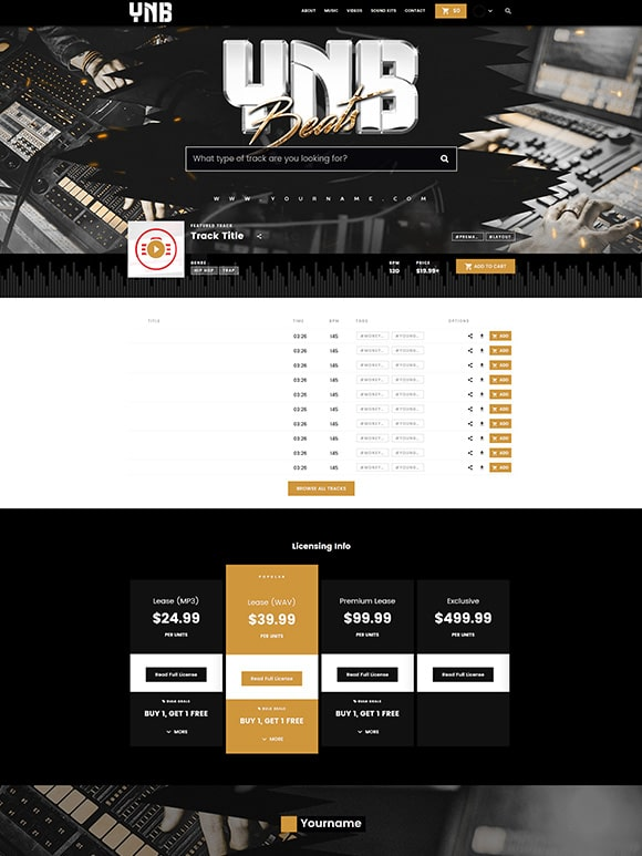 Premade Beatstars Pro Page Block Theme #015 Layout Preview