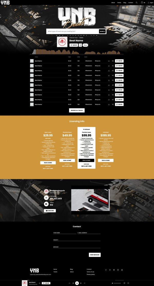 Premade Beatstars Pro Page Round Theme #015 Fullsize Layout Preview