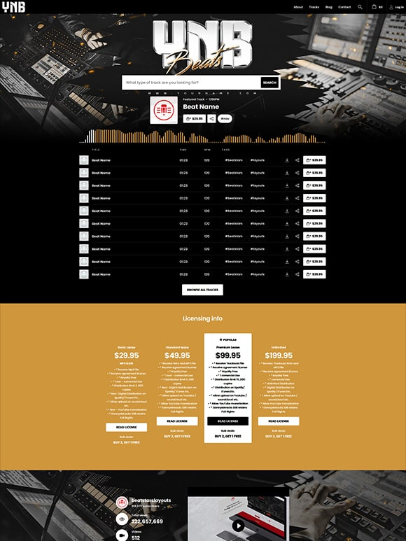 Premade Beatstars Pro Page Round Theme #015 Layout Preview